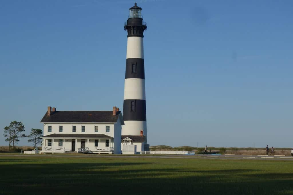Striped light house In Bodie Island, NC