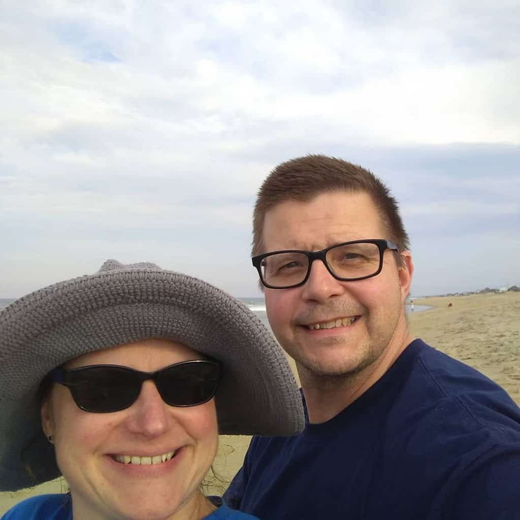 selfie of couple on beach in North Carolina outer banks