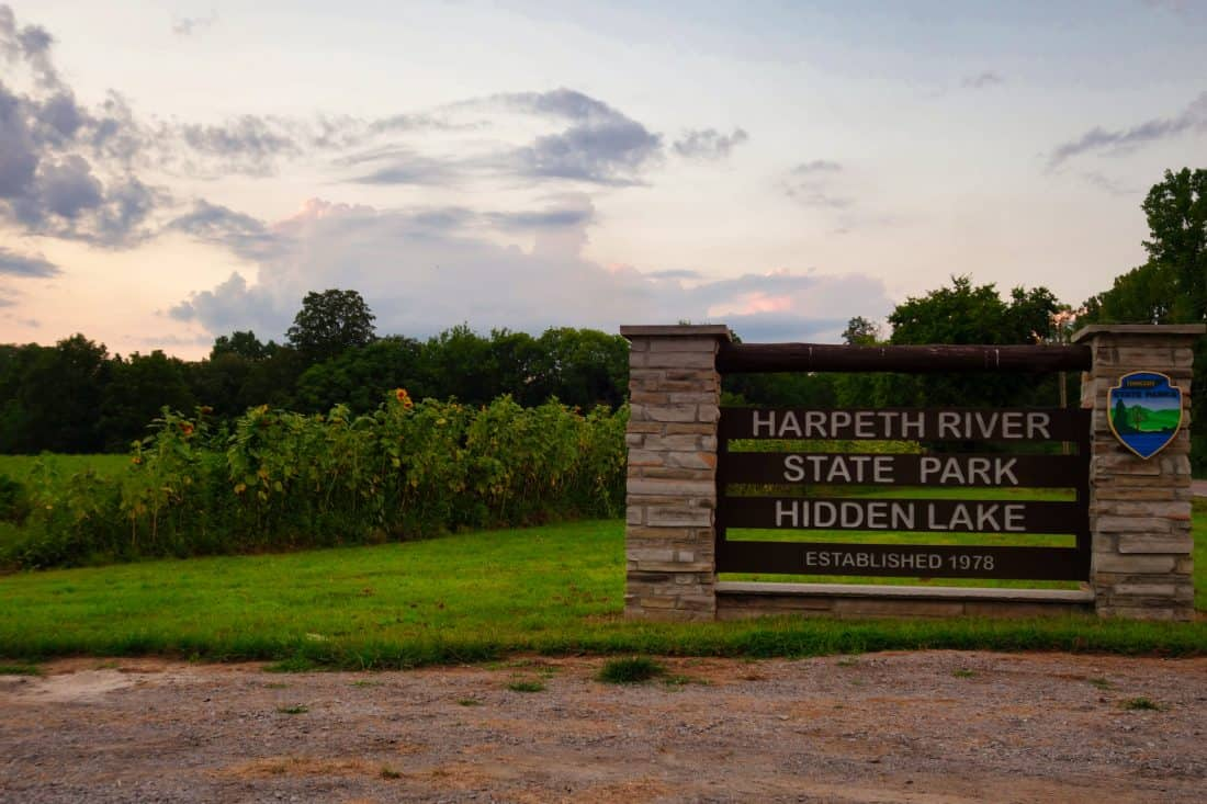sign for Harpeth River State Park Hidden Lake Tennessee